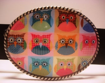 Colorful Hoot Owls Belt Buckle - Oval Wearable Art