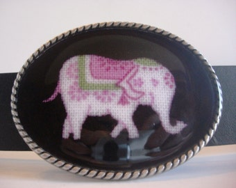 Belt Buckle - Pink Elephants - Oval Wearable Art