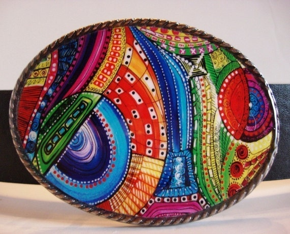 Jada Belt Buckle - Jazzbury - Oval Wearable Art