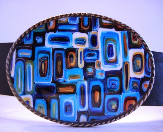 Belt Buckle - Turquoise Passion - Wearable Art