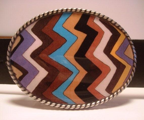 Zow Belt Buckle - Oval Wearable Art