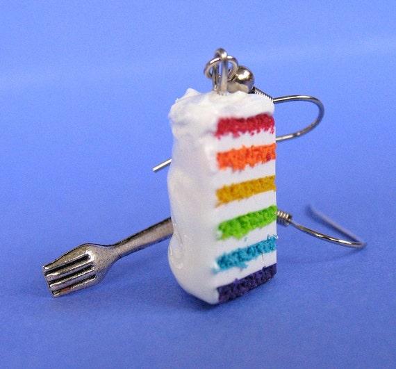 Rainbow Cake Slice with Fork Earrings NICKEL FREE