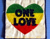 One LOVE One HEART - handmade embroidered art patch