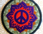 PEACE FLOWER - LARGE handmade embroidered art patch