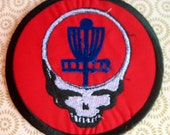 FRISBEE GOLF - w/ Grateful Dead Steal Your Face - Large handmade embroidered art patch