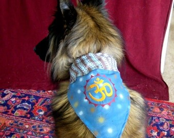 Ohm Om Aum - two sided REVERSIBLE Dog Bandana - EMBROIDERED - All sizes available - MEDIUM