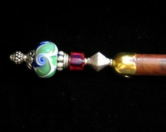 Riptide - Hairstick / wand with Lampwork glass bead Sterling Silver and Swarovski Crystal