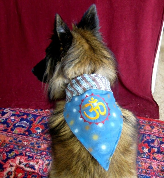 Ohm Om Aum - two sided REVERSIBLE Dog or Cat Bandana - EMBROIDERED - All sizes available - Small