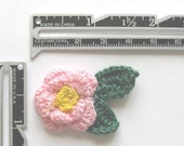 Crocheted Pink Flowers with Leaves - 12 pieces