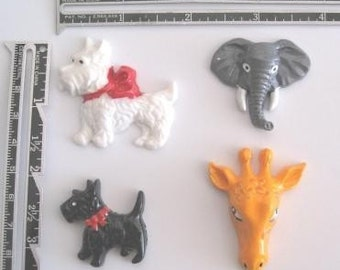 Animal Charms, Cabachons - Scotty dog or  Giraffe - 20 pieces