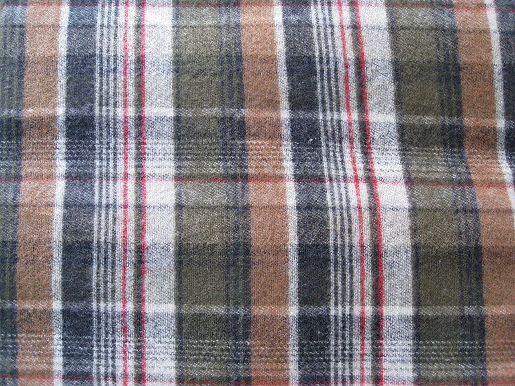 Plaid flannel fabric 100 cotton lt greyolivetanblackred for Flannel fabric