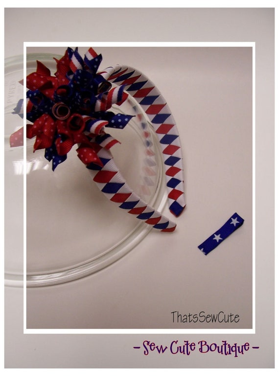 Woven Headband Stars and Stripes with Korker Bow Patriotic Flag 4th of July USA