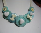 Sweet Sky Blue Button Bib Ribbon Choker Necklace