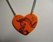 Orange Unicorn Love Heart Double Chain Pendant Necklace