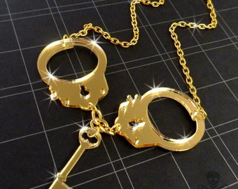 GOLD HANDCUFFS - Laser Cut Acrylic Necklace