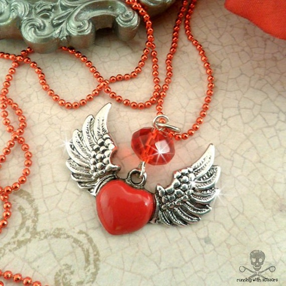 WINGED HEART - SALE -  Enameled Antique Silver Necklace In Red