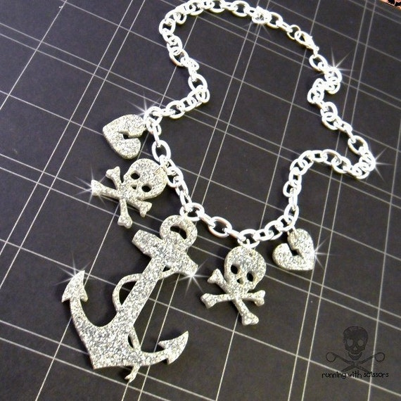 PIRATES BOOTY - Anchor Skull and Crossbones Charm Necklace - Silver Glitter Laser Cut Acrylic