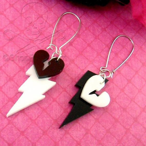 Black And White Bolts- Laser Cut Acrylic Dangly Earrings