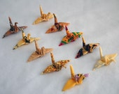 10 Mini Fabric Origami Cranes in an Organza Pouch - Yellows