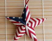 Stars and Stripes Puffy Fabric Origami Star Ornament