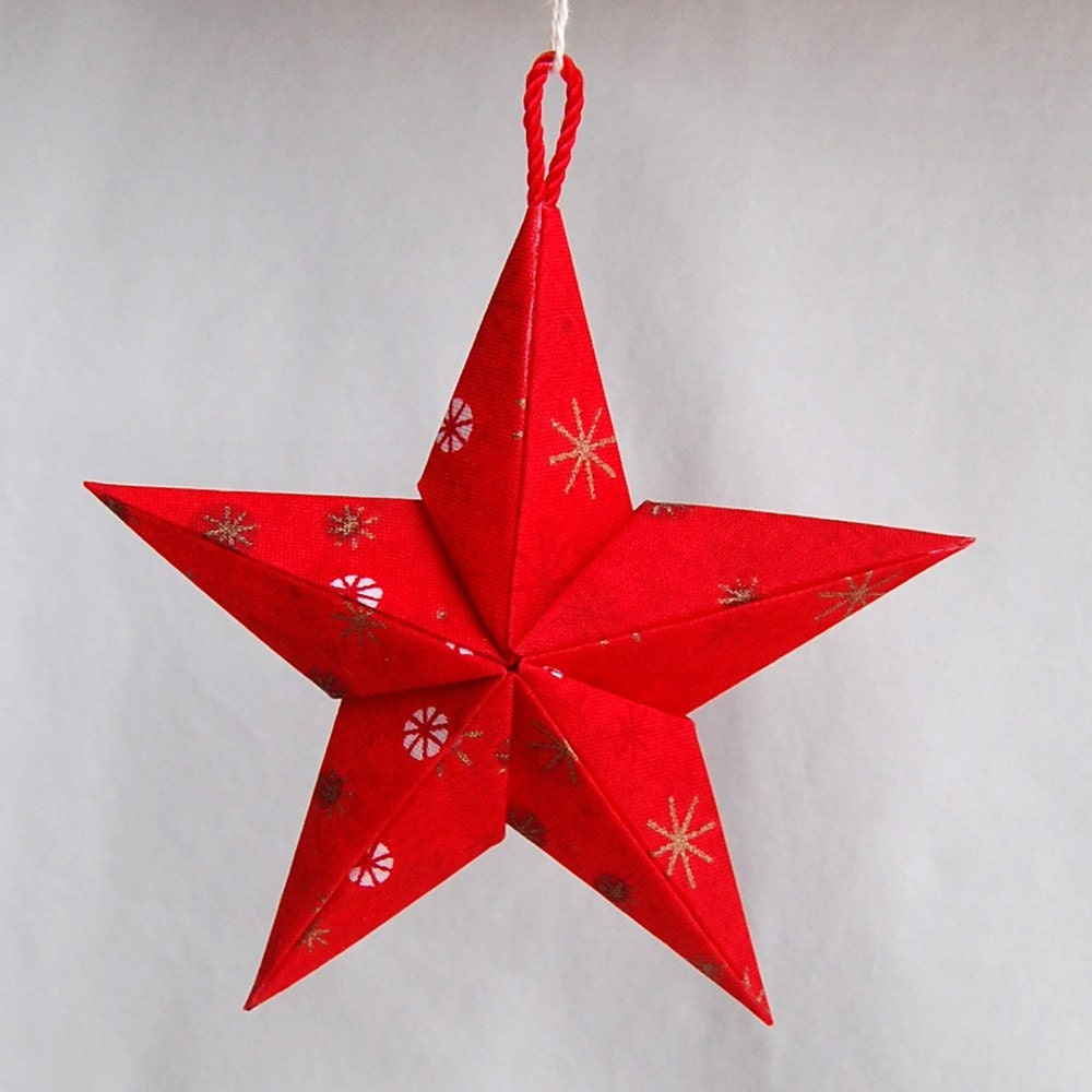 Items similar to Red Puffy Fabric Origami Star Ornament on ... - photo#27