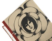 Empty Face - Sketchbook, Guestbook and Journal - Eco-Friendly and Recycled - Red Tan White Black Classic Antique Novel