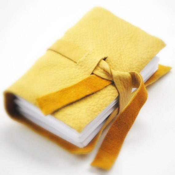 Reclaimed Leather Journal, Notebook, and Sketchbook - Eco-Friendly and Recycled - Honey Caramel Yellow Butter White Tan
