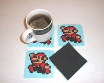 Perler Bead Coasters - SUPER MARIO