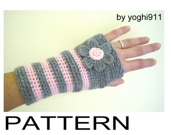 PDF Pattern - Hand warmers - Fingerless gloves mittens - Pink e Grey