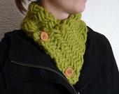 Hand Knit Chunky Green Neckwarmer  - Made To Order