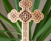 4 inch tall Antiochian Orthodox cross made from maple wood