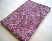 Star Paisley on Lilac and Pink Kindle or Nook Cover PADDED AND ZIPPER CLOSURE