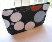 Pebbles on Black- Large Zippered Pouch