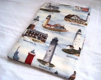 Lighthouses of Americas - Kindle Fire, Paperwhite, Touch 1 2 3 4, Nook Color, Sony, Kobo, Ereader Cover Padded and Zipper closure