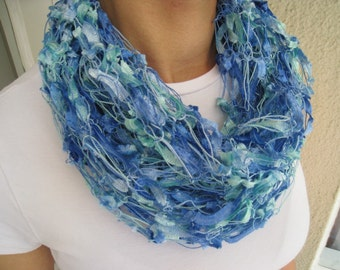 PIF Handknit Scarf Gorgeous Tones of  Aqua, Blue and Green - Ready to Ship