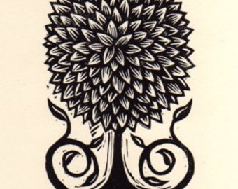 Little Tree Linoleum Block Print
