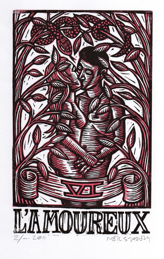 Lovers Tarot Linoleum Block Print