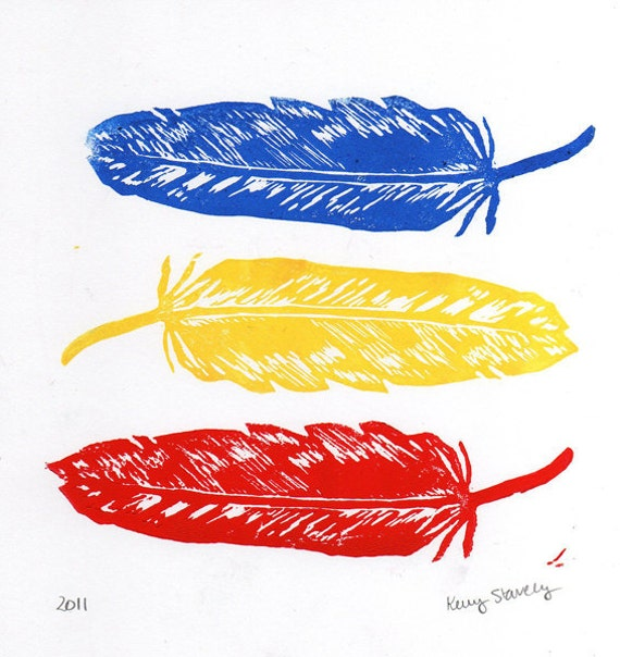 Primary Color Feathers Linocut Art Print