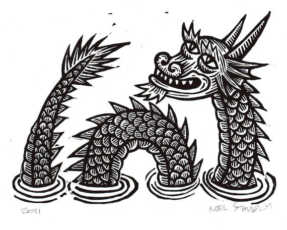 Dragon Linocut Art Print
