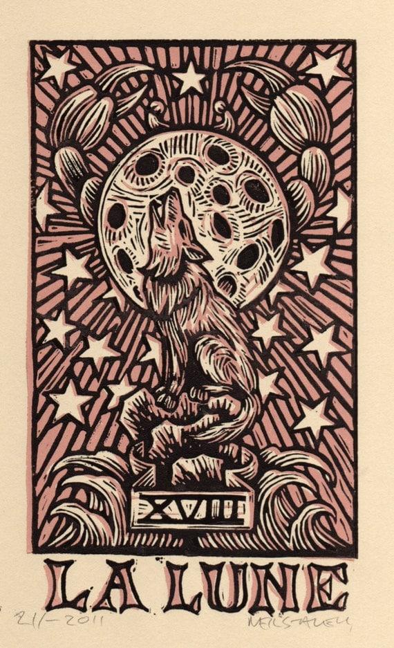 Moon Tarot Card Linocut Art Print