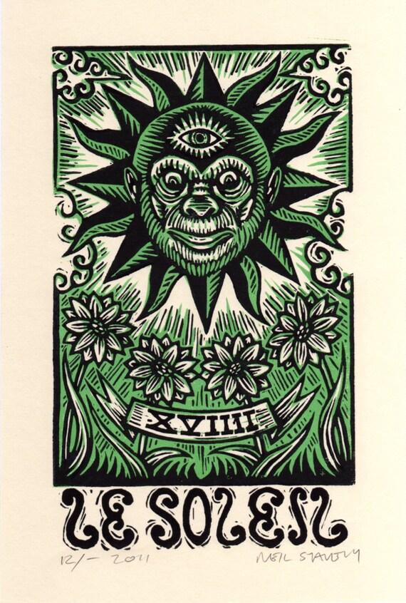 Sun Tarot Card Linocut Art Print