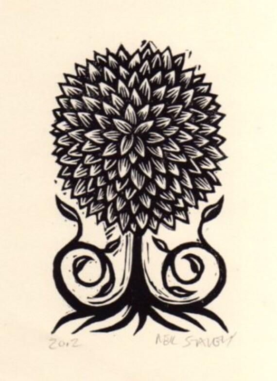Art, Nature Art, Little Tree Linoleum Block Print, Topiary Tree Art, Linocut Print