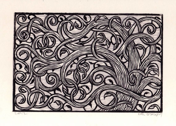 Curly Branch Tree Linocut Art Print