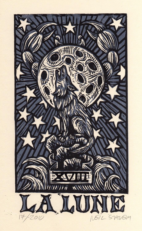 La Lune Moon Tarot Card Hand Pulled Linocut Print