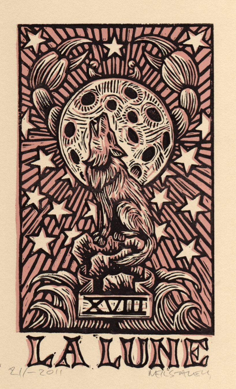 Tarot Cards And Important Life Events: Moon Tarot Card Linocut Art Print