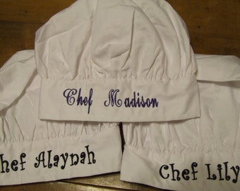 Personalized Teen to Adult Chef Hat - YOU choose font & thread color for Name or Phrase