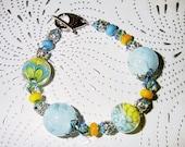 Pretty Petals Lampwork, Swarovski Crystals and Sterling Silver Bracelet