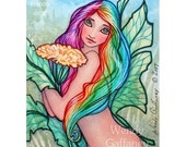 Dandelion Fairy - ACEO - fantasy PRINT artbywendy - wendy