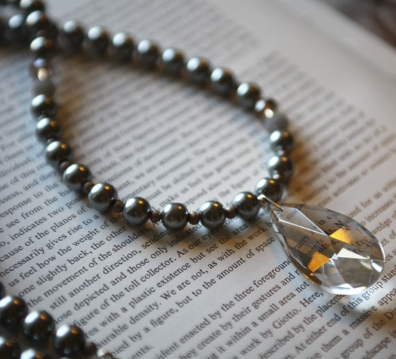 Hattie Necklace - Silver, Smoky Gray Pearl with Antique Chandelier Crystal - Long, 1920's Inspired, Elegant