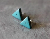 Triangle post earrings in light turquoise blue